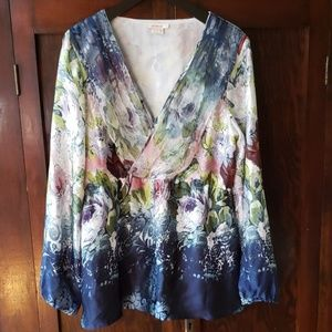 Sundance silk watercolor floral boho top L